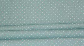 Tecido sarja pintas azul turquesa
