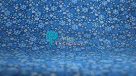 Tecido Natal Flocos azuis