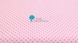 Tecido pintas cinza em fundo rosa