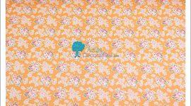 Tecido flores laranja