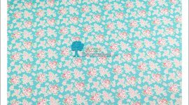Tecido flores azul turquesa