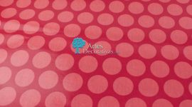 Tecido plastificado Super dots raspeberry/peach