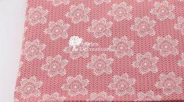 Tecido Flores rendadas rosé