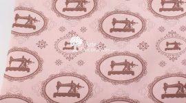 Tecido máquinas vintage rosé